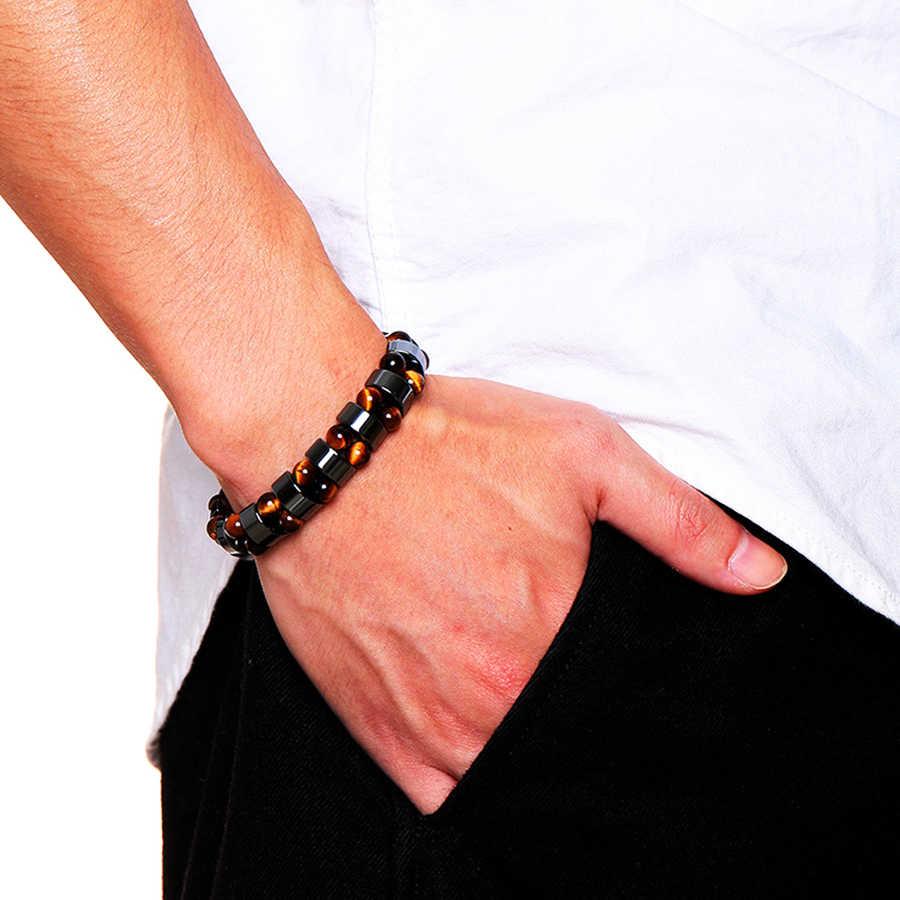 Podwójne hematytowe tygrysie oko bransoletki mężczyźni tygrysie oko i hematyt uroku bransoletki dla kobiet naturalny kamień energetyczny bransoletka biżuteria