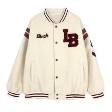 2021 nova chegada quente único breasted emendado carta marca roupas jaqueta bomber feminino solto uniforme de beisebol casaco inverno feminino
