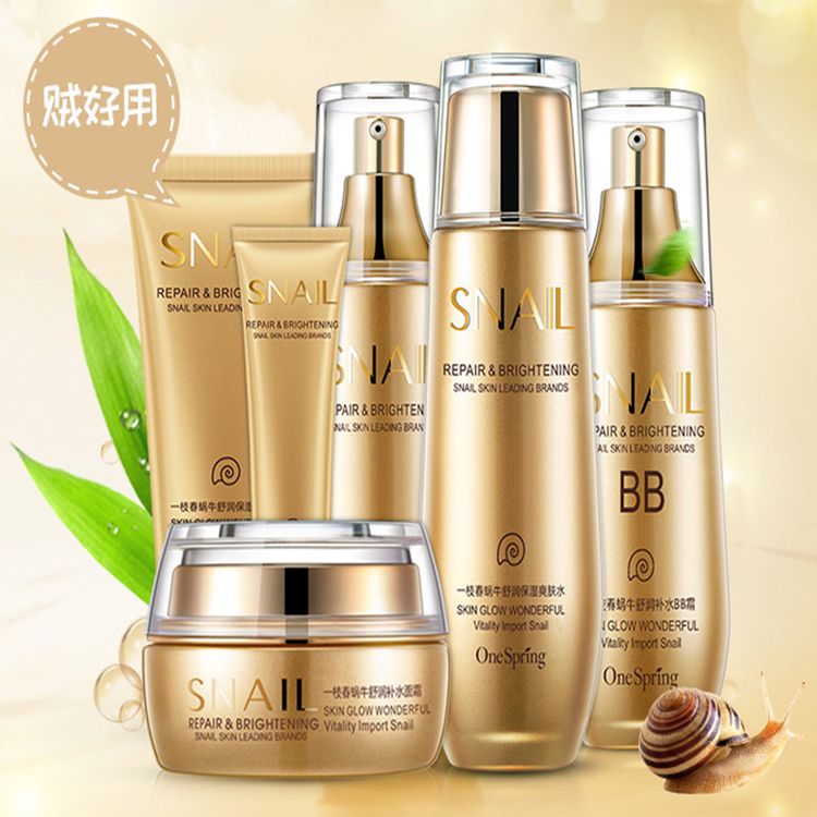 bom feedback novo produto atacado oem caracol cuidados com a pele conjunto uma primavera cosmeticos pessoal