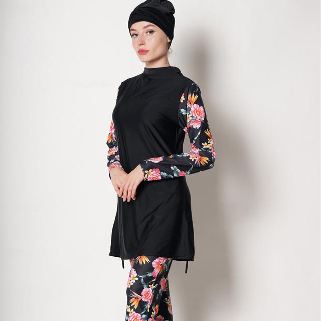 DROZENO  Swimwear Women Modest Patchwork Hijab Long Sleeves Sport Swimsuit  Burkinis Wear Bathing Suit