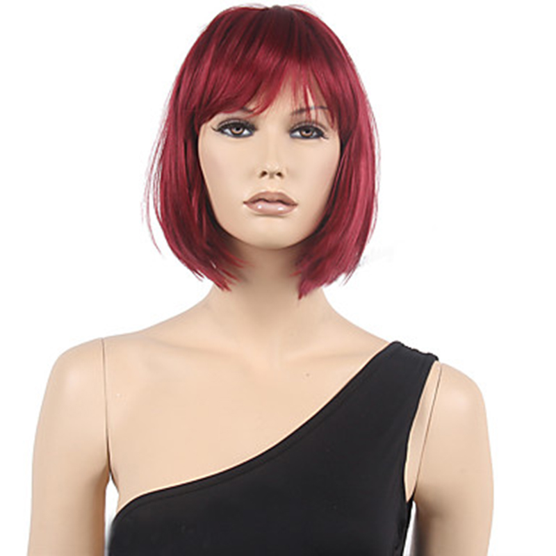 HAIRJOY Synthetic Hair Wig Women Short Straight Wig  Red Brown Black 3  Colors Available
