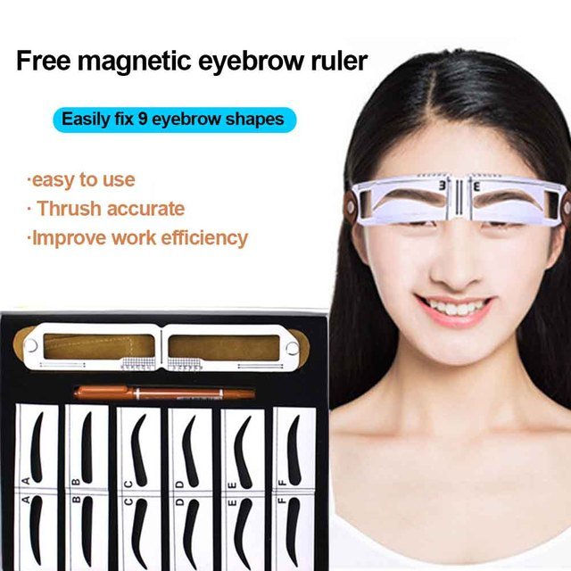 Home Salon Template Card Grooming Gift For Beginners Makeup Tool Measuring Semi Permanent Eyebrow Stencil Set Magnetic Ruler