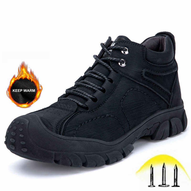 Men Work Safety Shoes Waterproof and Puncture-Proof Suede Leather Plush Warm Men Winter Boots Indestructible Steel Toe Shoes image