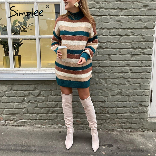 Simplee Knitted color stripe sweater dress jumper  Loose long sleeve women warm sweater  Elegant patchwork drop-shoulder jumper