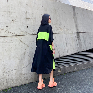 [EAM] Women Green Pleated Big Size Shirt Dress New Lapel Three-quarter Sleeve Loose Fit Fashion Tide Spring Summer 2020 1W358