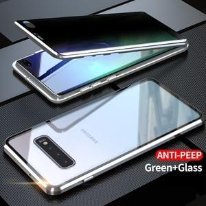 Image 5 - Fall Für Samsung Galaxy S8 S9 S10 Plus S10e Abdeckung Anti Spy 9H Volle Privatsphäre Gehärtetem Glas Screen Protector metall Magnet fall