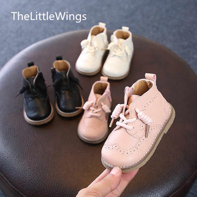 Bebek yürüyüş ayakkabısı Kızlar hakiki deri Erkek Martin Çizmeler Sonbahar Kış Ayakkabı 0-5 Yaşında Kore versiyonu ingiliz tarzı