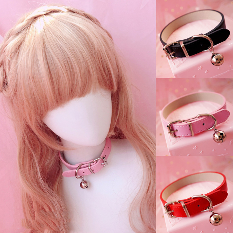 Sweet PU Leather Small Bell Choker Necklace Punk Style Women Torques Women Gothic Club Cross Jewelry Necklace