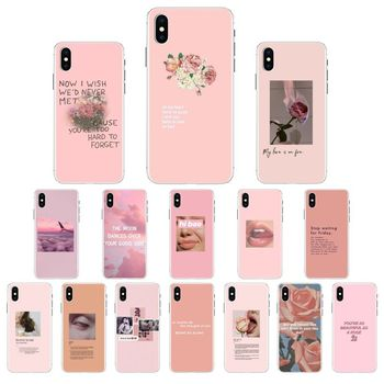 Vintage Pink Aesthetics songs lyrics Phone Case Cover For iPhone X XS MAX 6 6s 7 7plus 8 8Plus 5 5S SE XR 11 11pro max Cover image