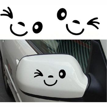 3D Smile Face Cute Car Styling Decal Black Sticker for Auto Car Side Mirror L+R Rearview image