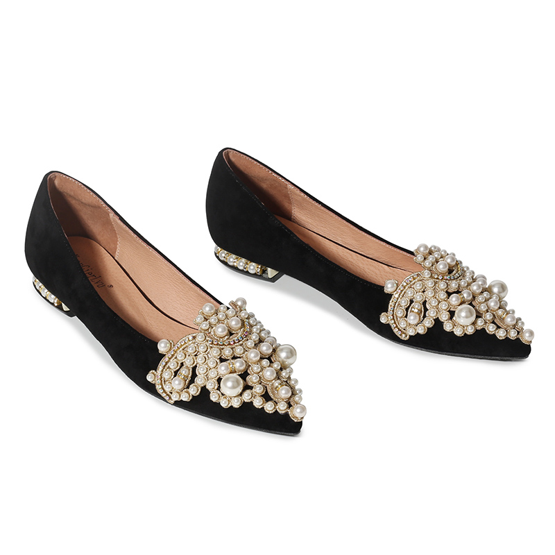 Black Rhinestone Women's Shoes Pearl Classic Beauty  Pointed Toe With Single Shoes Banquet Bridesmaid Shoes