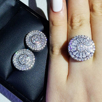 925 Sterling Silver cushion cut zircon Jewelry set Engagement ring stud earring for women gift  J5968 new fashion high quality super shiny zircon 925 sterling silver stud earring for women jewelry wholesale gift oorbellen