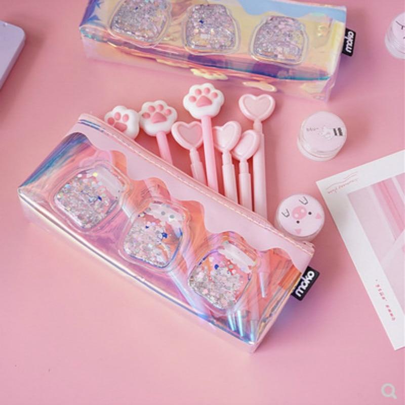 AngelHere  1 Pcs Simple Transparent Laser Pencil Case Creative Milk Bottle Cute Pencil Bag For Stationery School Supply