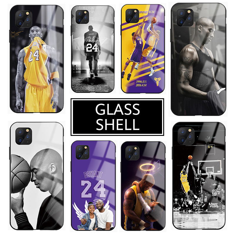 Backetball Star Kobe Bryant Case For Iphone 11 11 Pro 11 Pro Max 6 6S 7 8 X XS XS Max XR Tempered Glass Phone Cases Cover Fundas