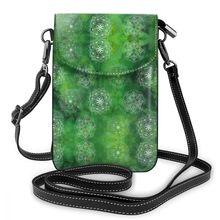NOISYDESIGNS Watercolor Mandala Green Women Shoulder Bag PU Leather Money Wallet Mini Mobile Long Phone Bags Messenger