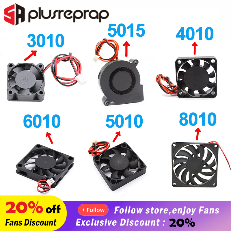 5015/4010/3010/5010/6010/8010 12V 24V Cooling Turbo Fan Brushless DC Cooler Blower 2-Wire Black Plastic Fan For 3D Printer