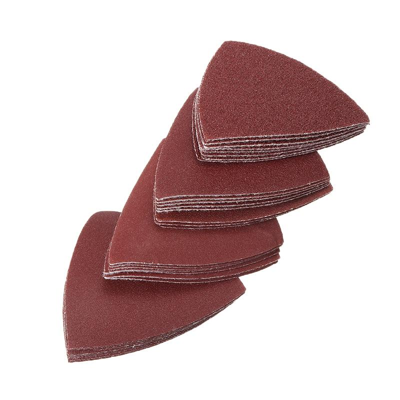 32pcs Triangular Sandpaper Assorted 60/120/180/240 Grit Sand Paper Fit 3-1/8 Inch Oscillating Multi Tool Sanding Pad