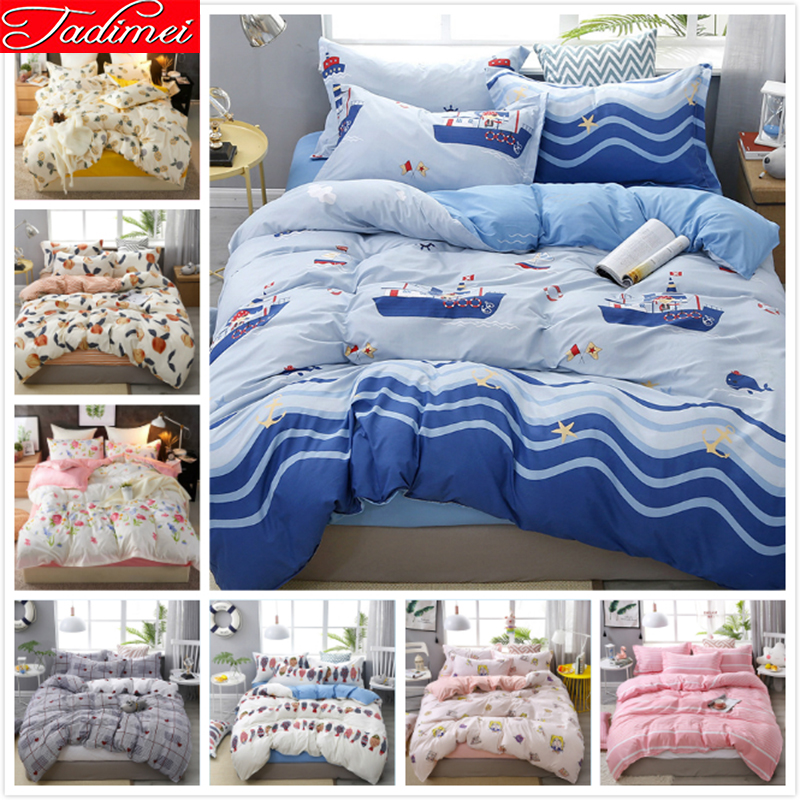 Cartoon Payment Blue Wave Stripe Duvet Cover Bedding Set Adult Kids Child Soft Cotton Bed Linen Single Twin Full Queen King Size