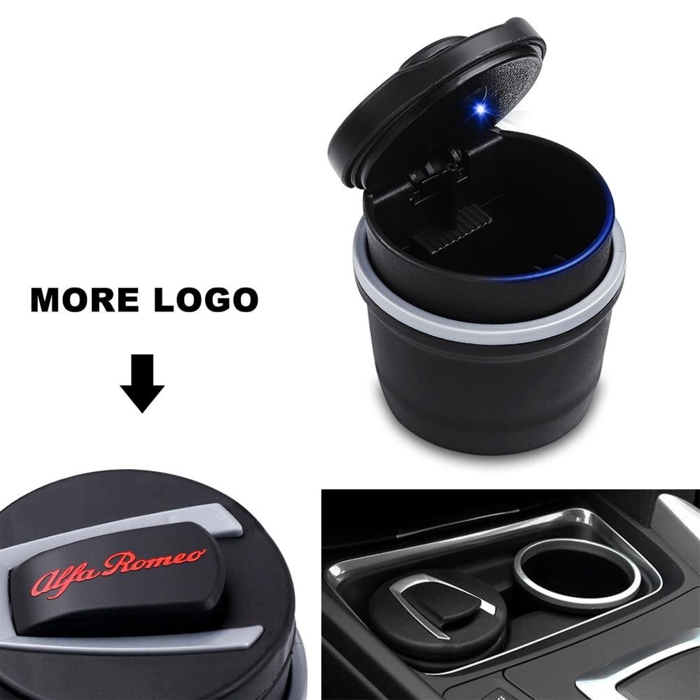 Car Ashtray Cigarette Smoke Holder Portable Storage For Alfa Romeo Mito 159 147 156 Giulietta Stelvio 166 Badge Accessories
