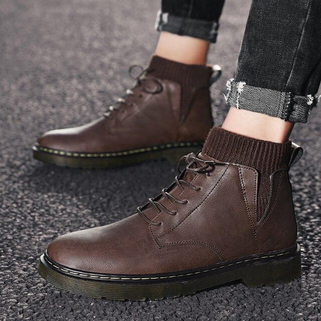 Фото мужские эластичные ботинки из воловьей кожи размеры 39 44