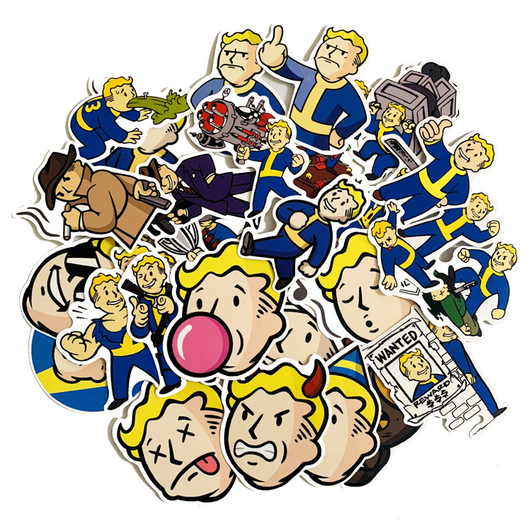 29Pcs Fallout Game Sticker For Luggage Skateboard Phone Laptop Moto Bicycle Wall Guitar Waterproof PVC Stickers(China)