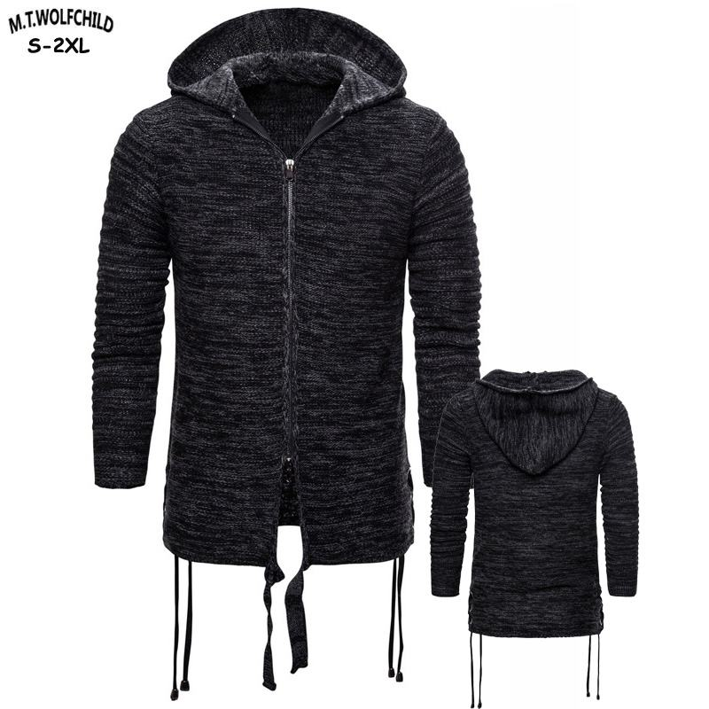 High Quality 2019 New Men's Thick Hooded Knitting Sweaters Casual Mens Long Sleeve Knitted Coats Fashion Mens Clothing Outerwear
