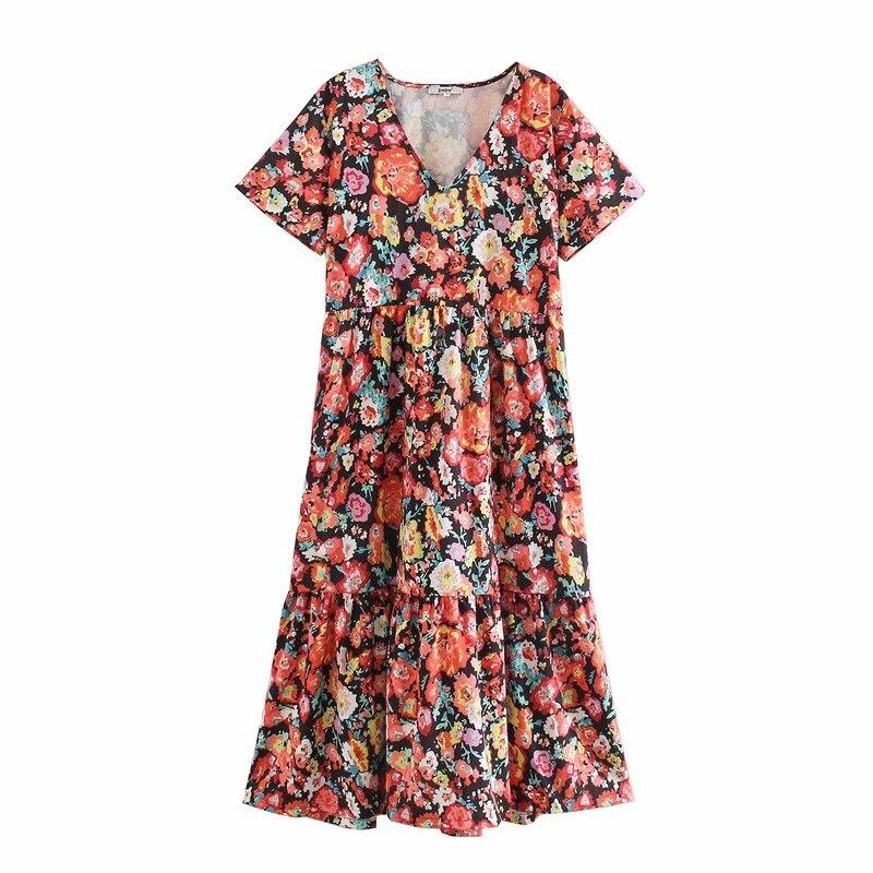New 2020 Women Vintage V Neck Short Sleeve Floral Print Straight Dress Chic Female Pleats Vestidos Casual Party Dresses DS3704