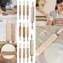 Hot Christmas Rolling Pin Laser Wooden Embossing Dough Stick Baking Pastry Tool  DIY 2019
