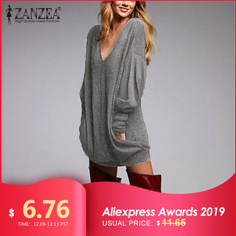 ZANZEA 2019 Autumn Women Long Blouse Shirt Long Sleeve Knitted Sexy V Neck Pullovers Casual Tunic Pull Femme Plus Size S-5XL