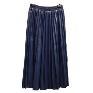 Image 4 - LANMREM 2020 가을 패션 새로운 PU 가죽 pleated 치마 탄성 높은 허리 모든 일치 여성의 바닥 YF342