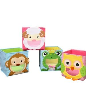 Image 2 - New 3D Cartoon Non Woven kid Toys Storage bins Animal Embroidery Foldable Clothes Storage Box for Underwear organizer Rangement