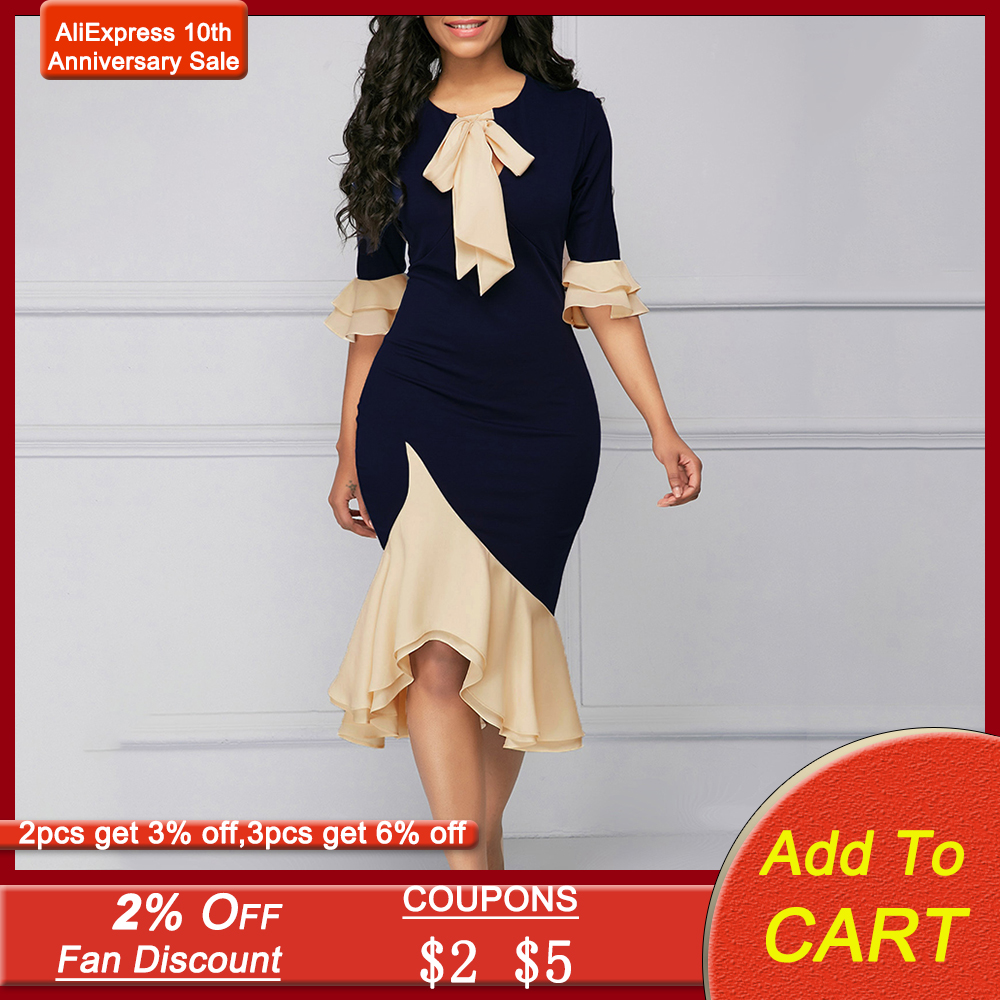 Bowknot Mermaid Dress Ruffles Patchwork Cocktail Party Dresses Vintage Elegant Office Lady Asymmetric Mid-Calf Women Dress