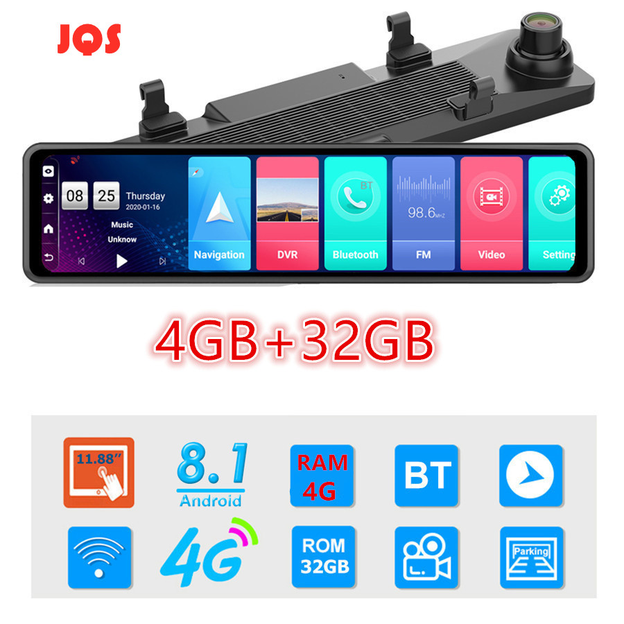 12 Inch Car Rearview Mirror Auto Recorder 4G Android 8.1 Rear View Mirror Car Dvr 4GB+32GB Night Vision Mirror Dvr Dash Cam