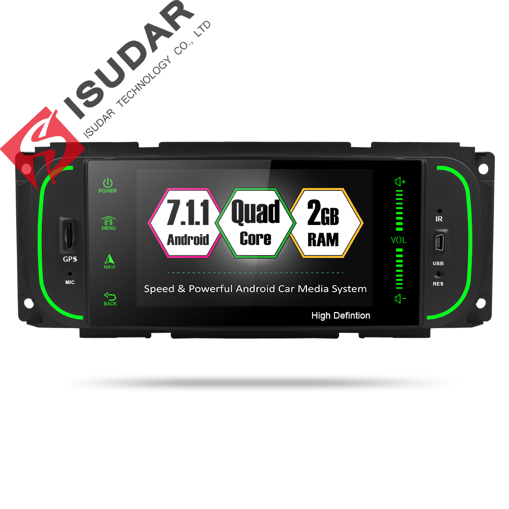 Isudar <font><b>Car</b></font> <font><b>Multimedia</b></font> <font><b>player</b></font> <font><b>1din</b></font> android 7.1.1 5 Inch For Jeep/Chrysler/Dodge/Liberty/Wrangler/Sebring/Grand Cherokee Radio GPS image