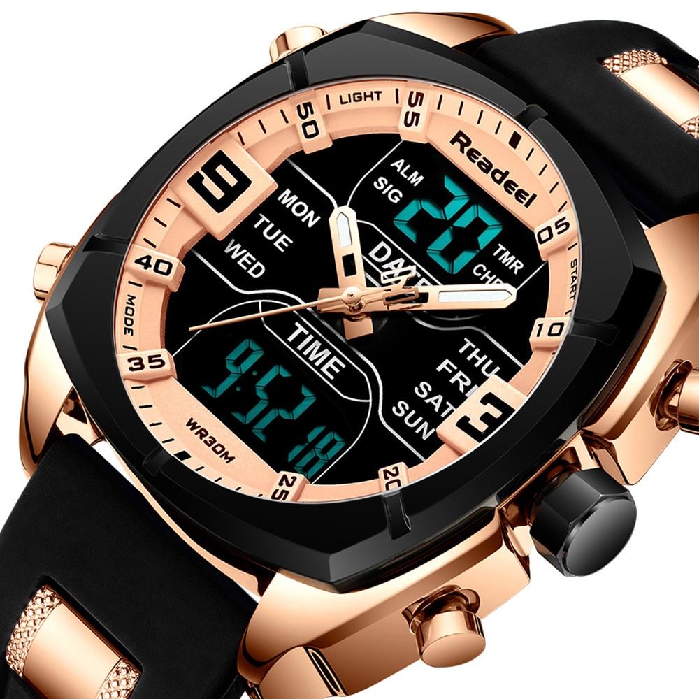 Watch Men Readeel Brand Mens Sports Watches Men's Led Digital Quartz Man Clock Military Waterproof WristWatch relogio masculino