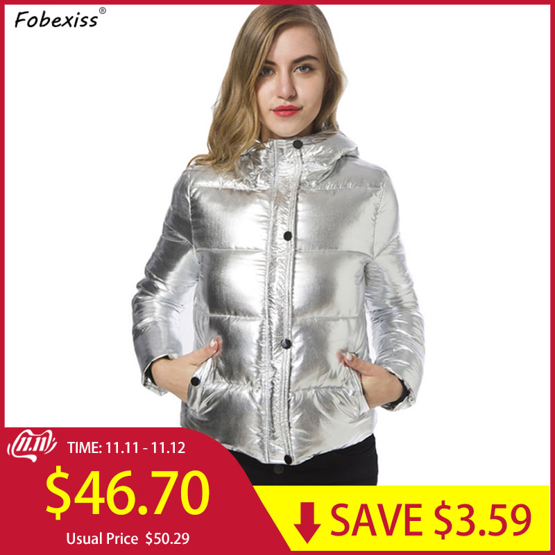 Reflective Winter Jacket Silver Bubble Puffer Parka Hooded Cold Short Padded Coat 2019 New Plus Size Women