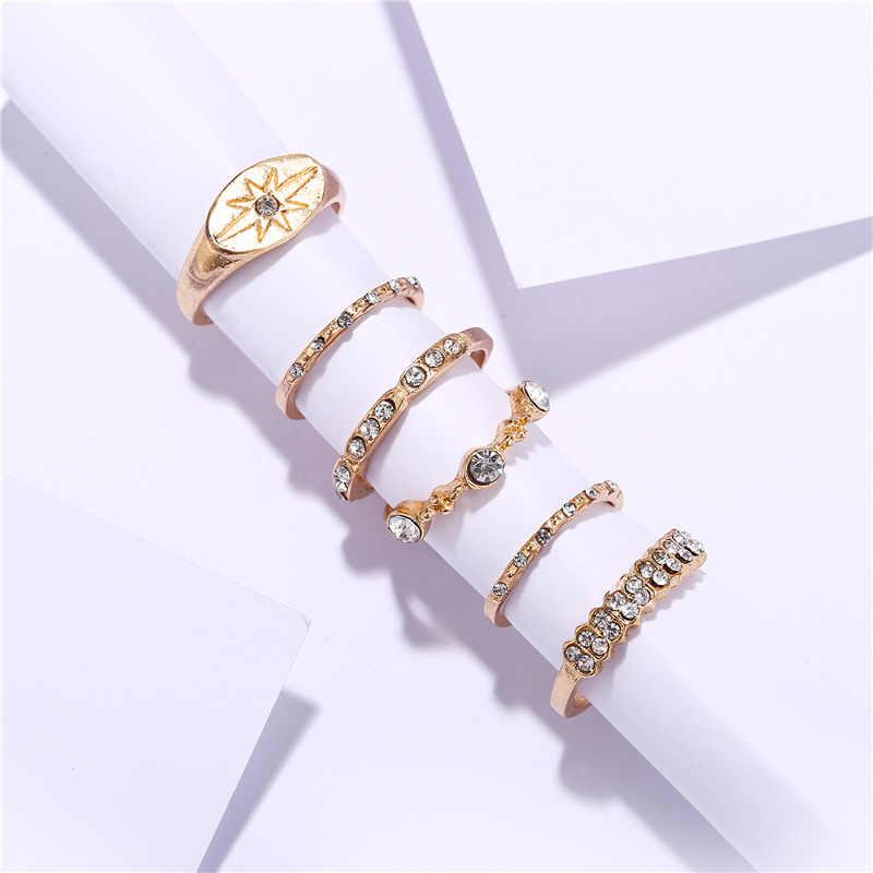 Jeśli ty Vintage Star Crystal Knuckle nowy zestaw pierścieni dla kobiet czeski Ring Finger akcesoria imprezowe biżuteria 2019 nowość