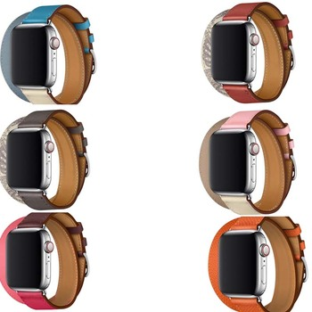 single tour Genuine Leather strap for Apple Watch band Double Tour 3/2/1 38mm 40mm 42mm 44mm  ,WristBand For iwatch series 5 4 цена 2017