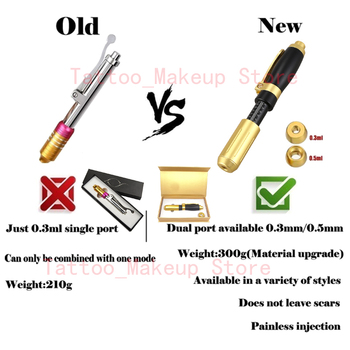 2 IN 1 Hyaluronic Pen 0.3ml & 0.5ml Hyaluron gun hyaluronique acid lip filler Mesotherapy Gun no-needle Noninvasive Nebulizer