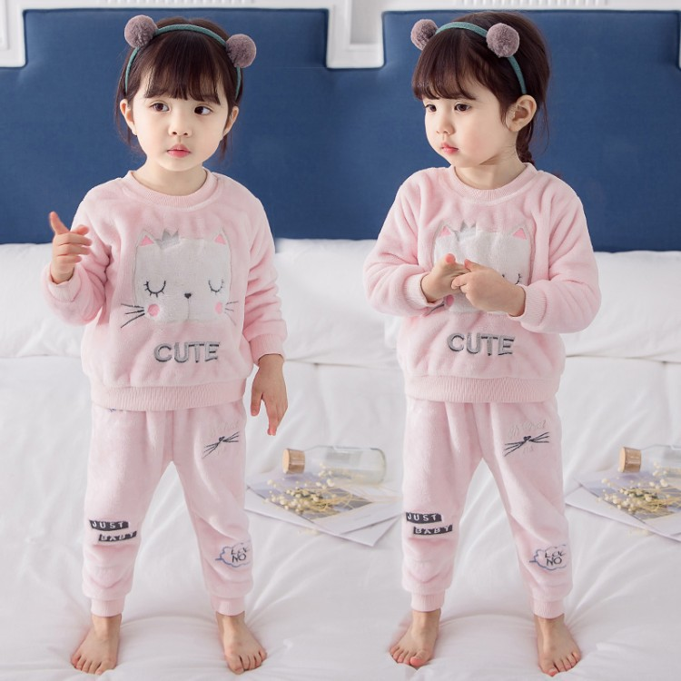 Baby Pajamas Baby Girls Autumn Clothing Girls Coral Velvet Tracksuit 2019 New Style Children Flannel Pajamas 3-Year-Old 5