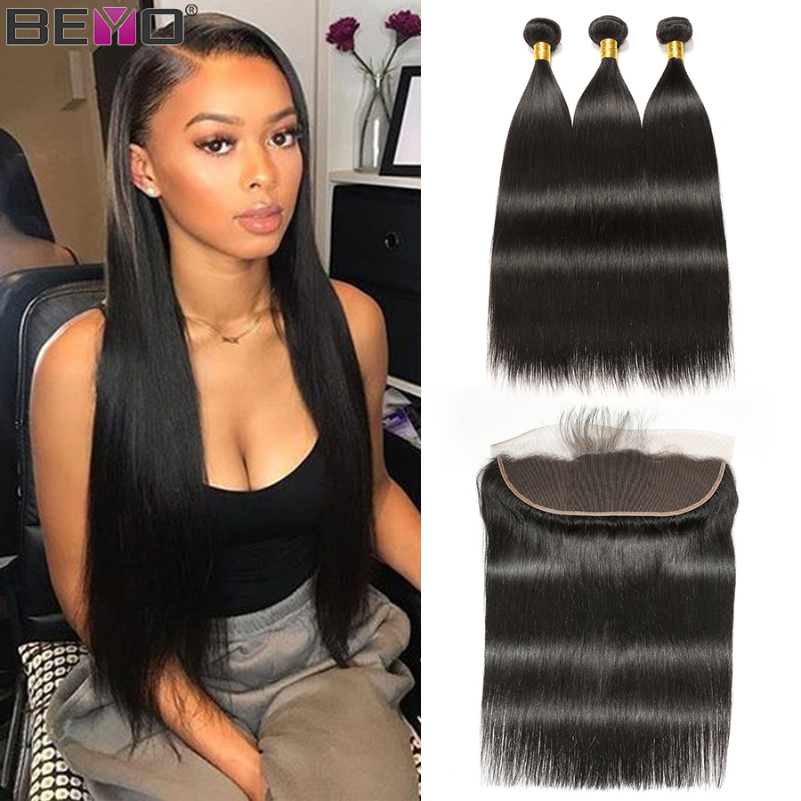 Beyo Ear To Ear Lace Frontal With Bundles Peruvian Straight Hair Bundles With Closure Human Hair Bundles With Closure Non Remy