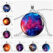 HOT!Charming Nebula Necklace Galaxy Space Glass Cabochon Pendant Solar System Jewelry Universe Milky Way