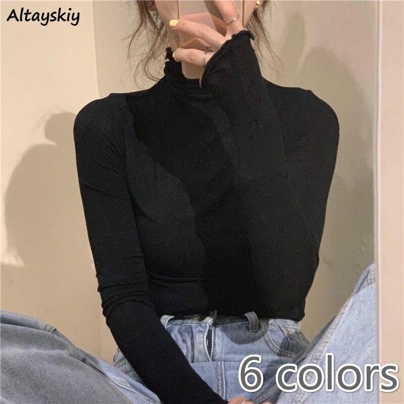 Langarm T-shirts Frauen Solide Einfache Grund Alle-spiel Koreanischen Trendy Frauen Tops Täglichen Weiche Herbst Beliebte Damen Kleidung t