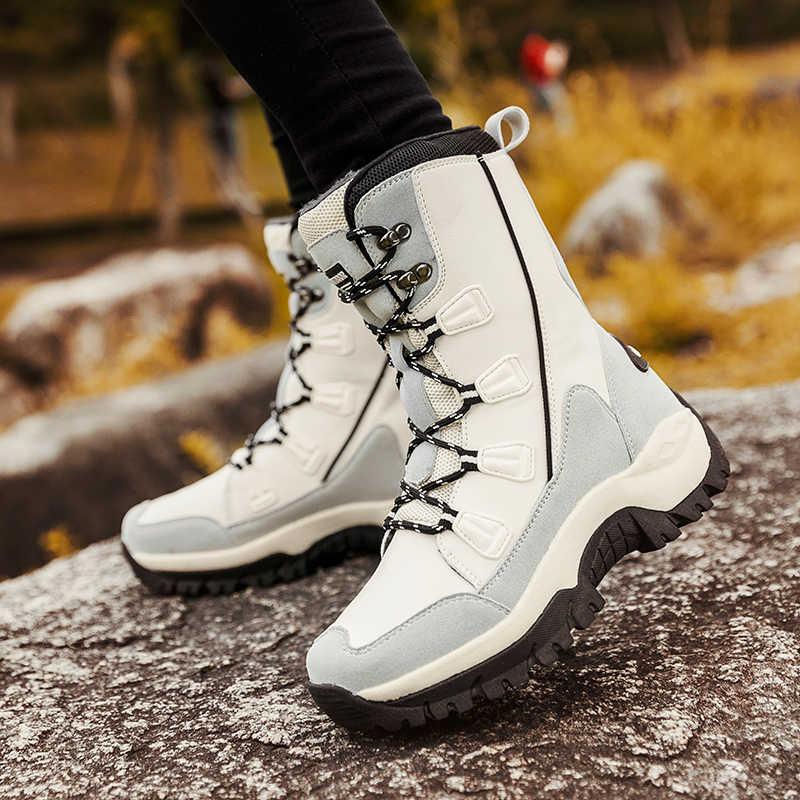 ขนาดใหญ่ผู้หญิงฤดูหนาวรองเท้ากันน้ำรองเท้าผู้หญิง Trekking รองเท้าขนสัตว์สุภาพสตรีสุภาพสตรีปีนเขารองเท้าผ้าใบกลางแจ้ง
