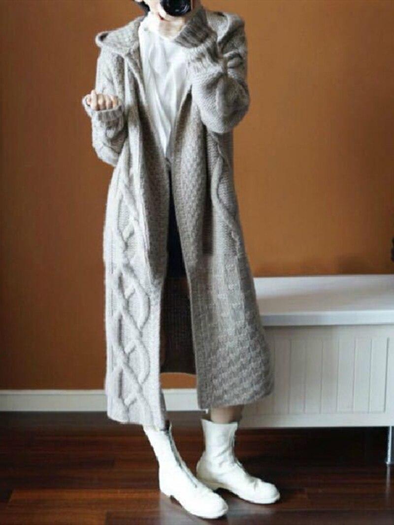 2019 Europe Women Retrieve Winter Hooded Long Knit Trench Jas Korean Womens Fashion Wool Fat Windjack Trui