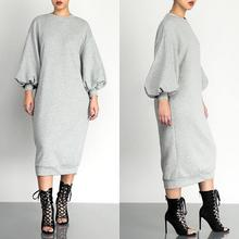 Women Autumn Casual Dress Solid Color Black Grey Long Loose Sleeved Dresses Vestidoes