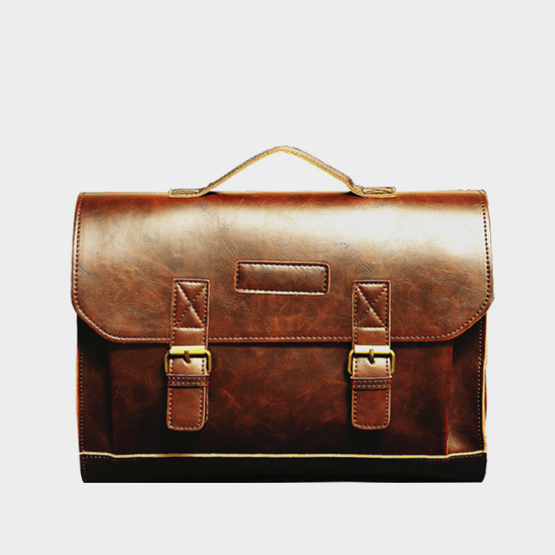 Crazy Horse Leather Man Bussines Bag Laptop Case Briefcase Attache Vintage Style Office Black Messenger Computer Handbag Men0004