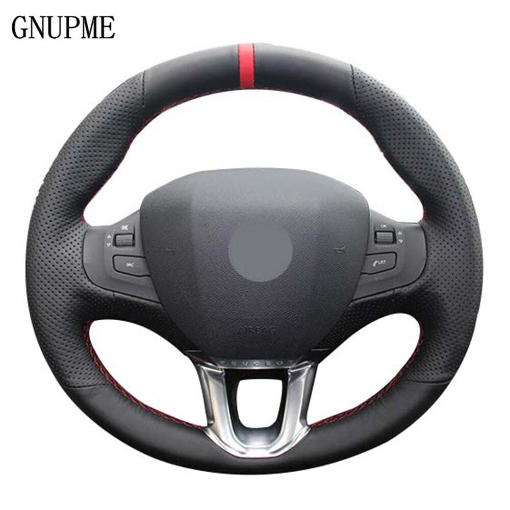 Черная искусственная кожа Чехол рулевого колеса автомобиля Красный Маркер для Peugeot 208 Peugeot 2008 Руль авто аксессуары