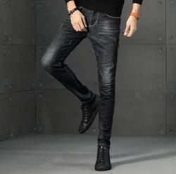 Новинка 2020 мужские потертые тонкие маленькие прямые мужские брюки maa1 синие Стрейчевые Молодежные длинные брюки AA693-01