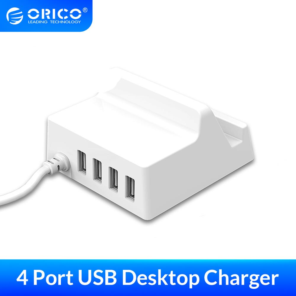 ORICO 4 Ports <font><b>USB</b></font> <font><b>Charger</b></font> 5V4A Portable Travel <font><b>Charger</b></font> Adapter With Phone Holder Desktop <font><b>Charger</b></font> for Mobile Phone image